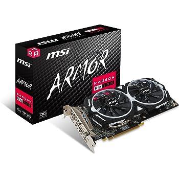 MSI RX 580 Armor 8G OC Gaming Radeon RX 580 GDDR5 8GB Crossfire VR Ready FinFET DirectX 12 Graphics Card
