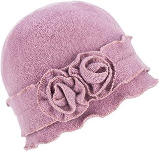 Womens Gatsby 1920s Winter Wool Cap Beret Beanie Crochet Bucket Flower Hat A285