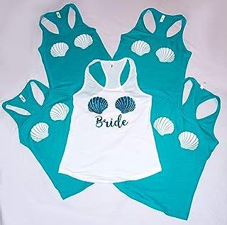 Bachelorette party Mermaid tank tops Mermaid of Honor, Brides Mermaid, The Bride or Bride to Be, shells mermaid tank