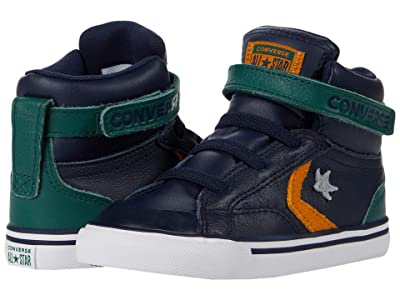 Converse Kids Pro Blaze Strap Leather Hi (Infant/Toddler) (Obsidian/Midnight Clover/Saffron Yellow) Boy