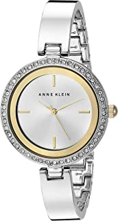 Anne Klein Women's AK/2299SVTT Swarovski Crystal Accented Silver-Tone Bangle Watch