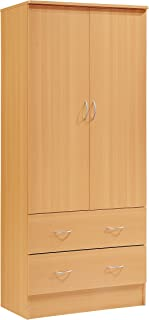 Hodedah Two Door Wardrobe, with Two Drawers, and Hanging Rod, Beech