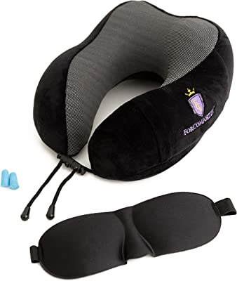 Neck Pillows for Traveling - Ideal Travel Neck Pillows with Memory Foam and Neck Rest Pillow Travel kit - Machine Washable Travel Neck Pillow