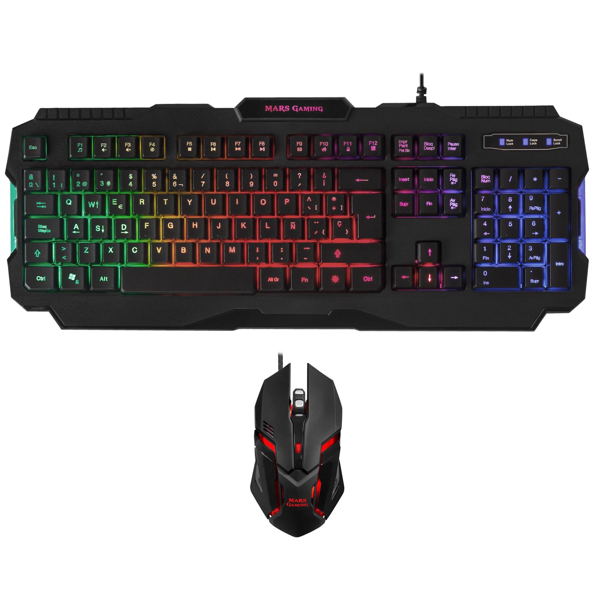 MARSGAMING Pack Gaming de Teclado y ratón (iluminación RGB, 15 ...
