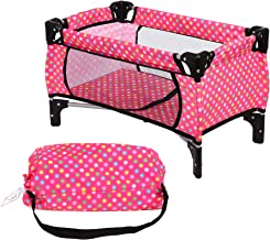 "fash n kolor Doll Pack N Play Crib Polka Dot Design Fits up to 18"" Dolls Blanket and Carry Bag Included"