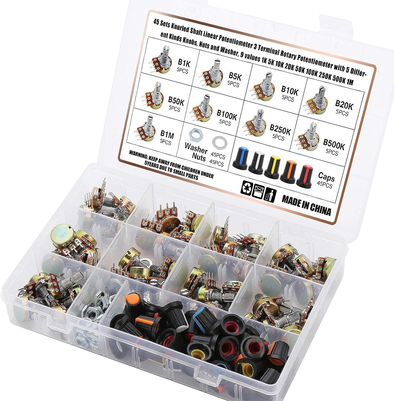 OCR 1K-1M ohm Potentiometer Kit, 45 Sets Knurled Shaft Linear Po
