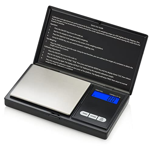 Smart Weigh SWS1KG Elite Báscula Digital Para Cocina, 1 kg, Color Negro