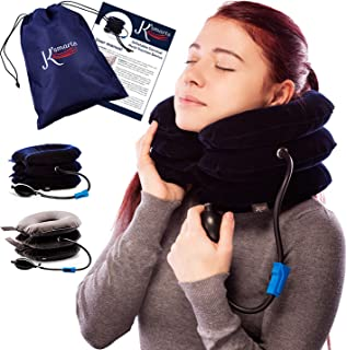 Pinched Nerve Neck Stretcher Cervical Traction Device for Home Pain Treatment | Inflatable Spinal Decompresion Collar Unit Muscle Strain Injury Relief | Herniated Disc Problems Remedy Kit by K'Smarts