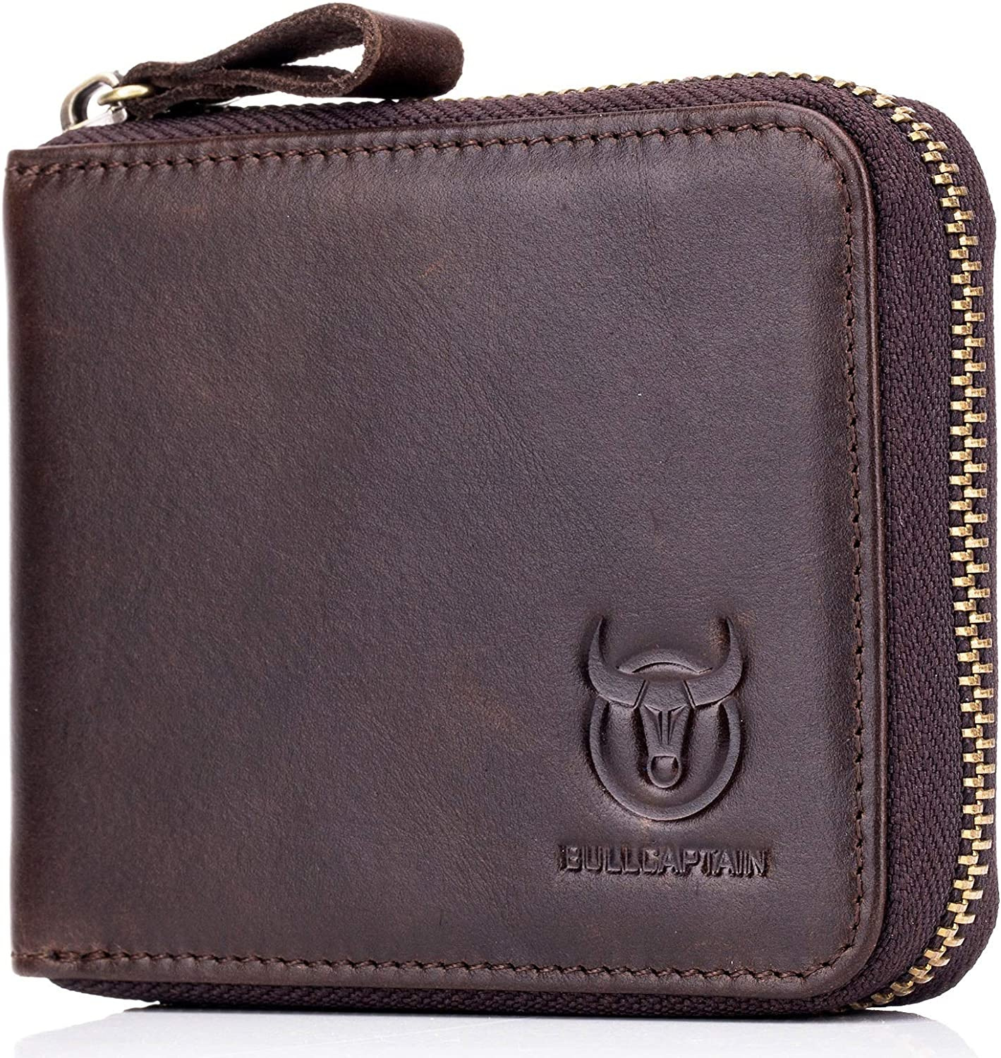 Mens Genuine Leather Zipper Wallet RFID Blocking Bifold, brown, Size Small