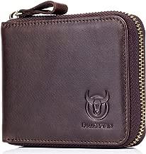Mens Genuine Leather Zipper Wallet RFID Blocking Bifold Secure Zip Around Wallets Multi Credit Card Holder Purse