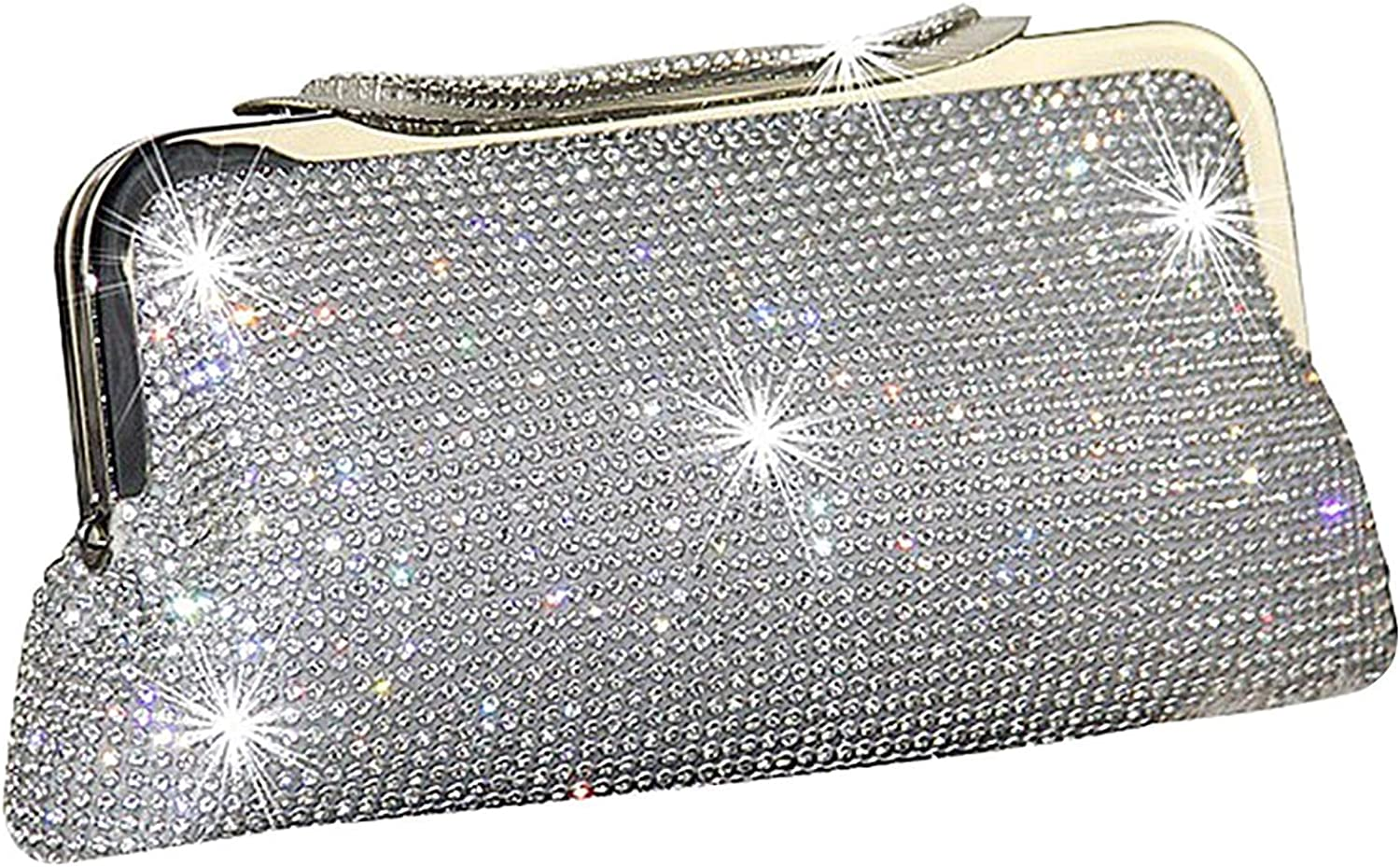 Ladies Handbag Women's Shiny Diamonds Evening Clutch,Crystal Sequins Clutch Handbags with Shoulder Chain Included (color   B, Size   23x13cm(9x5inch))