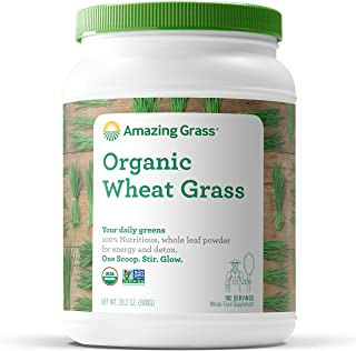 Amazing Grass Wheat Grass Powder: 100% Whole-Leaf Wheat Grass Powder for Energy, Detox & Immunity Support, 100 Servings