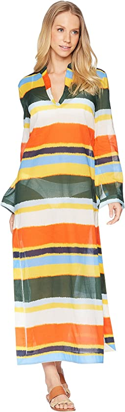 Tory Burch Swimwear Balloon Stripe Stephanie Beach Caftan Cover-Up