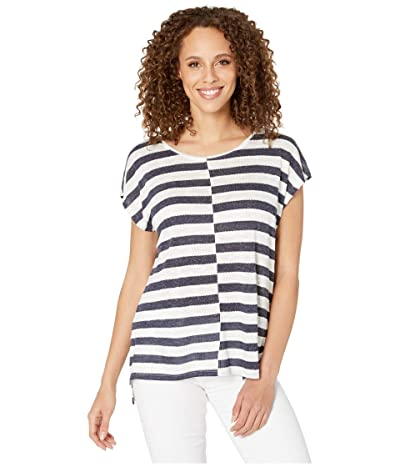 Vince Camuto Extend Shoulder Even Patchwork Stripe Tee (Indigo Night Heather) Women