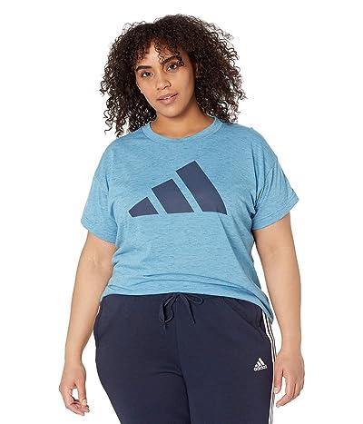 adidas Plus Size Win 2.0 Tee (Hazy Blue Melange) Women