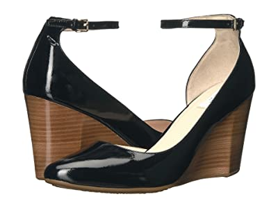 Cole Haan Lacey Ankle Strap Wedge 85mm (Black Patent) Women