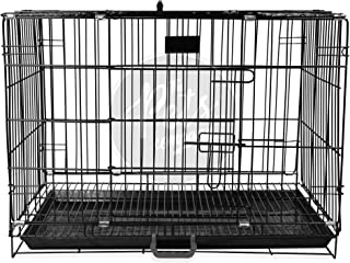 The Pets Company Double Door Folding Metal Dog Cage with Paw Protector, for Small Dogs and Puppies, Small, Black, 24 Inch