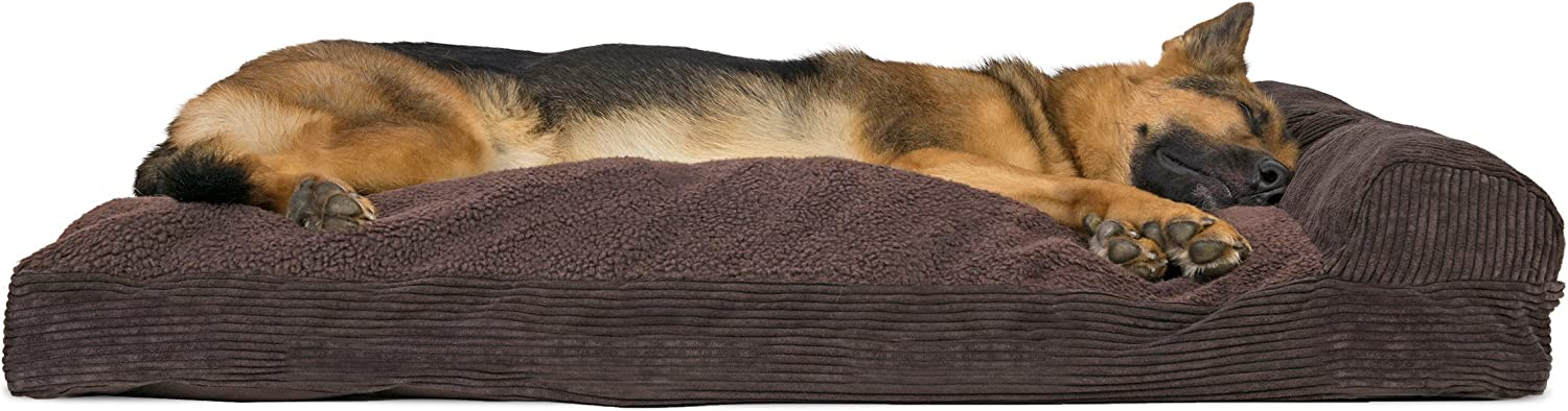 FurHaven Pet Dog Bed   Faux Fleece & Corduroy Chaise Lounge Pillow SofaStyle Pet Bed for Dogs & Cats, Dark Espresso, Jumbo