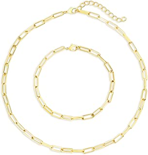 I'S ISAACSONG Statement 14k Gold Plated 4mm Thick Oval Chain Link Choker Collar Necklaces and Link Chain Bracelets Chunky Gold Jewelry Set for Women