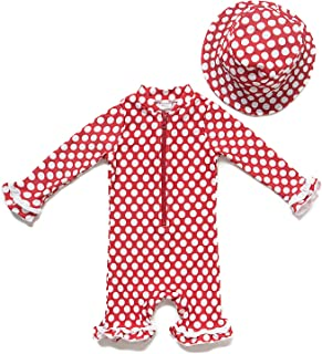 Baby Girl One-Piece Swimsuit Long Sleeve UPF 50+ Sun Protection (9-12 Months, Red)