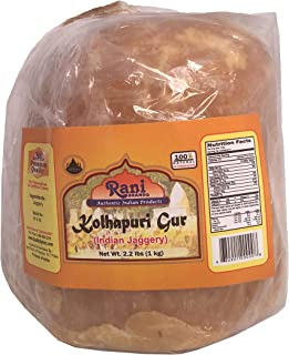 Rani Kolhapuri Gur (Jaggery) 1kg (2.2lbs) ~ Indian Unrefined Raw Cane Sugar, No Color added, Gluten Free Ingredients | Vegan | NON-GMO | No Salt or fillers