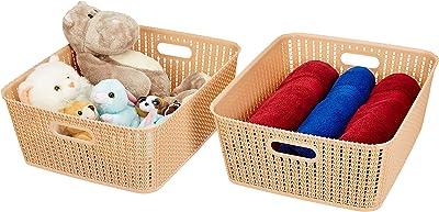 Amazon Brand - Solimo Storage Basket, Set of 2, Large, Beige
