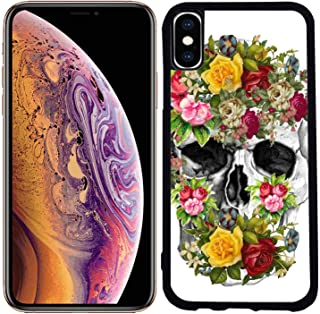 [TeleSkins] - Rubber TPU Case for iPhone Xs Max 6.5 inch (2018) - Vintage Flower Skull Sugar Skull - Ultra Durable Slim Fit, Protective Plastic with Soft Rubber TPU Snap On Back Case/Cover.