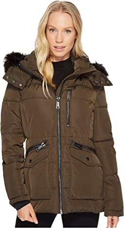 Calvin Klein - Puffer Short with Fur Trimmed Hood