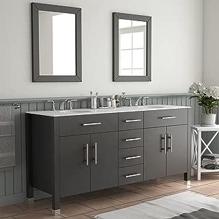 72 Inch Espresso Double Basin Sink Bathroom Vanity Set-