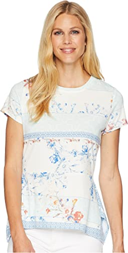 Printed Cap Sleeve Top with Peplum Hem