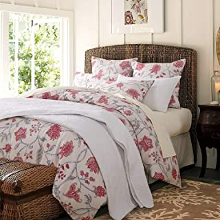 Softta Vintage Queen Size Bedding Set Shabby Red Flower and Leaves Deep Pocket 4Pcs Bed Sheet Set Bohemia Chic Farmhouse Bedding 800 Thread Count Retro 100% Egyptian Cotton