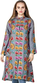 Exotic India Cloudburst Long Kashmiri Jacket with Hand-Embroidered Multic - Gray