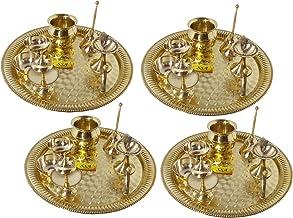 SHIV SHAKTI ARTS Handmade Pure Set Of 4 Brass Pooja Thali Set 28 pcs (4 Pooja Thali , 4 Ghanti , 8 Roli Chawal Katori , 4 Deepak , 4 Kalash , 4 Agardaan) For Diwlai Laxmi Poojan and Navratri Poojan Purpose