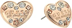 GUESS - Logo Heart Button Earrings