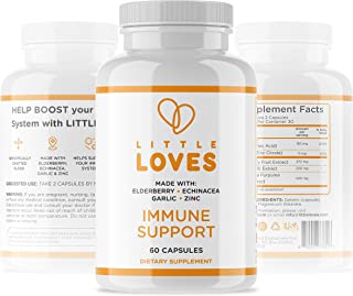 Little Loves Elderberry Immune Support Supplement, 60 Count Prebiotic and Probiotic Antioxidant Capsules for Digestive Hea...