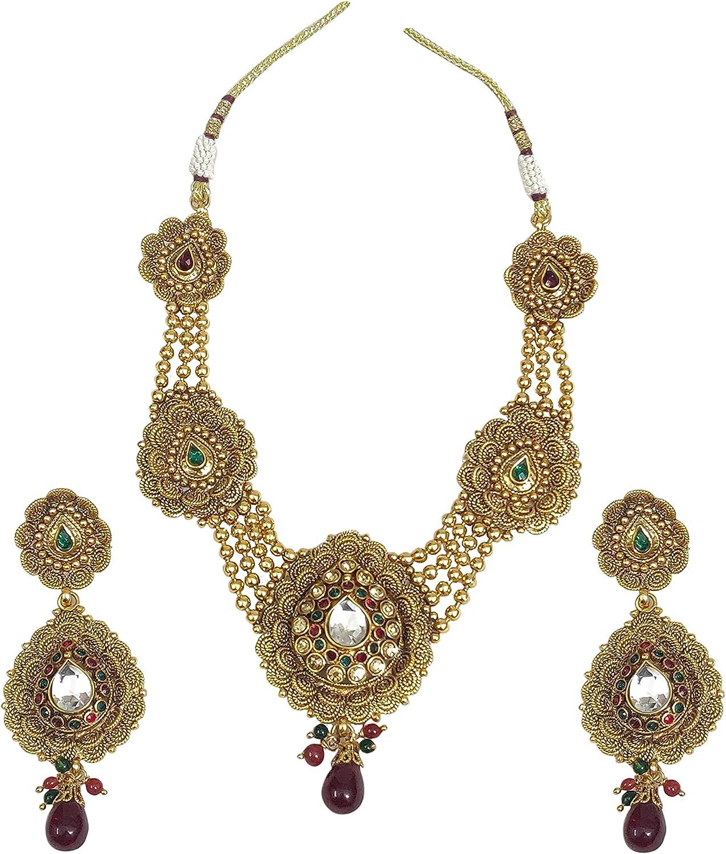 Babosa Sakhi Gold Plated Polki Necklace Tika Earring Set Indian Wedding Jewelry