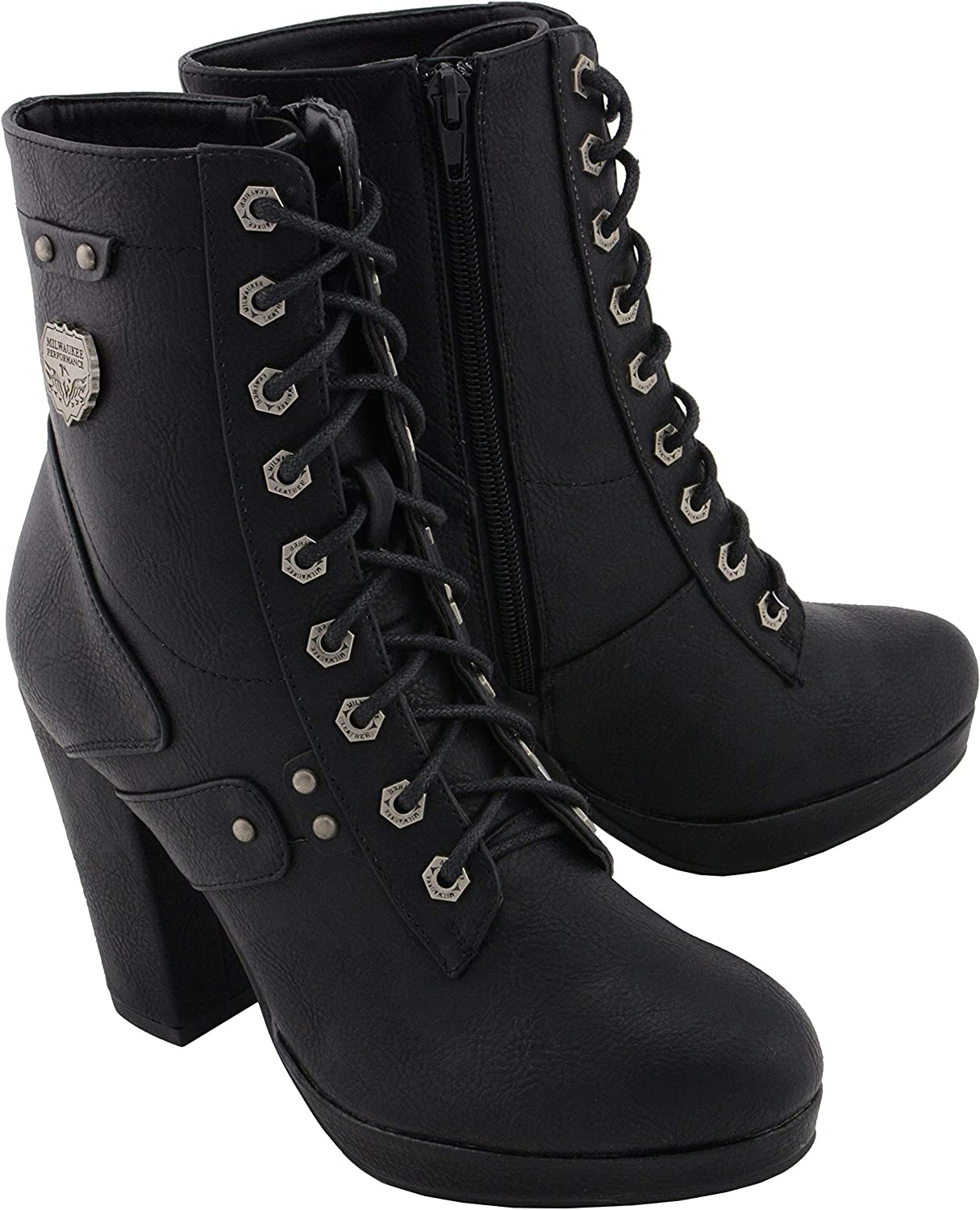 Milwaukee Leather MBL9418 Women's Black Lace-Up Platform Boots with Studded Accents