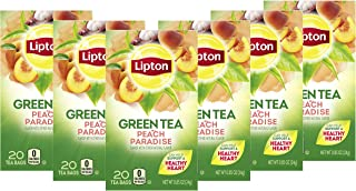 Lipton Green Tea Bags Flavored with Other Natural Flavors Peach Paradise Can Help Support a Healthy Heart 1.13 oz 20 Count...