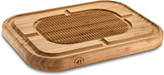 Bamboo Wood Chopping Butcher Block - Large Reversible 17x13x1.5 Thick Cutting Board with Juice Groove and Spikes Stabilizes Meat While Carving