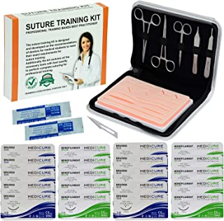 Suture Kit Ideal for Practicing All type Suturing Techniques by Medical & Veterinary Students, Including Reusable Silicone...