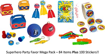 Superhero Party Supply/Favor Mega Pack   Treat Boxes   Stickers   Stamps   Braclets   Punch Ball/Balloon   Pop Rocks   Swirl Pop   Perfect for Superheo Party Supplies or Party/Gift Packs