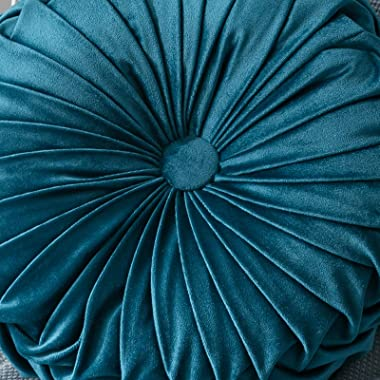 YNester Round Floor Cushions Pillow, Solid Color Velvet Meditation Cushion Pumpkin Pleated Meditation Pillow for Home Sofa Be