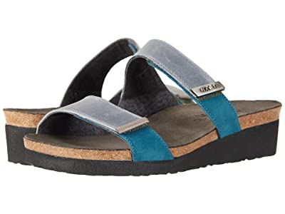 Naot Jacey Wide (Vintage Slate Leather/Teal Nubuck/Silver Threads Leather) Women