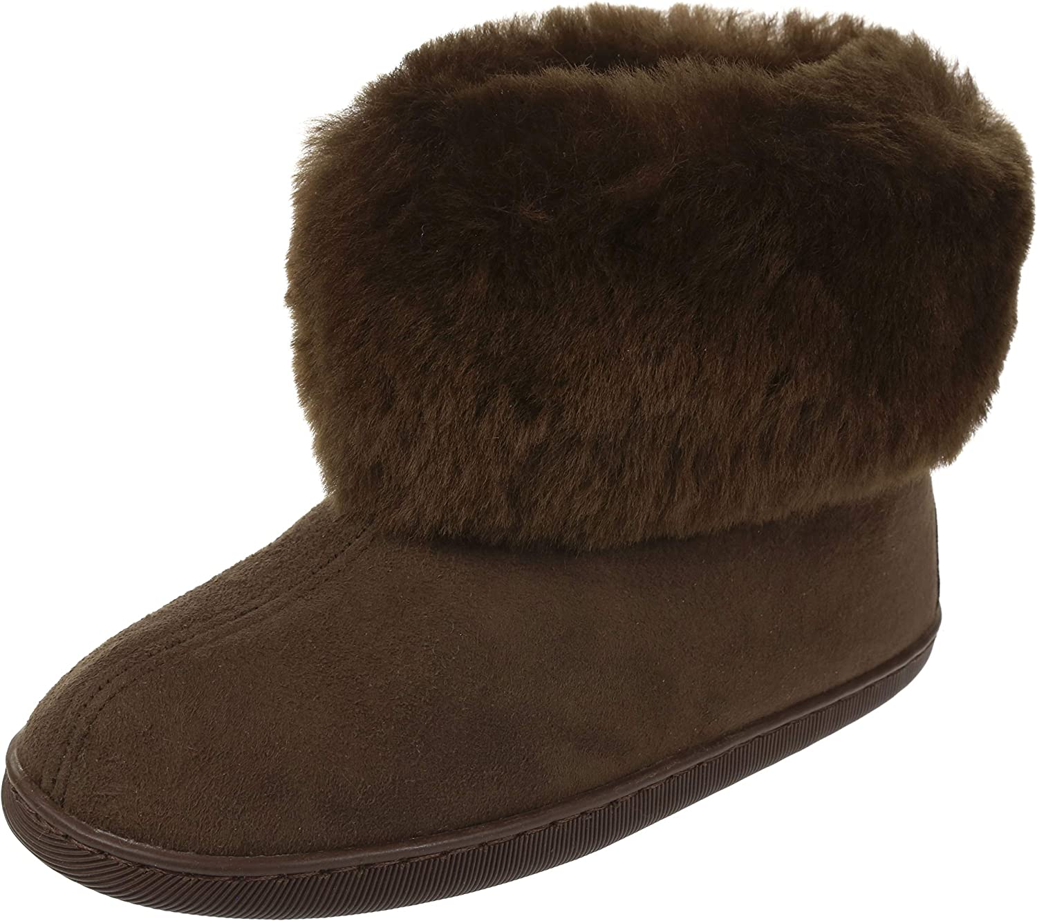 Vogar Womens Sheepskin Leather Furry Ankle Slippers VG-11M Boots Sheep Wool Lined