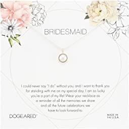 Dogeared - Bridesmaid Flower Card Large Bezel Pearl Pendant Necklace