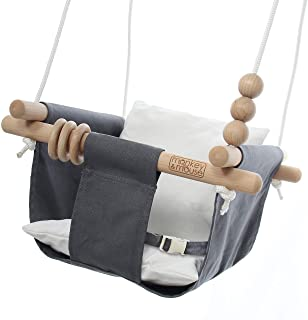 Monkey & Mouse Secure Canvas and Wooden Hanging Swing Seat Chair with a Baby, Infant, Toddler, Kids Toys - Indoor and Outd...
