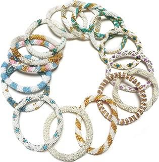 Handmade Crochet Glass Seed Bead Nepal Boho Bracelet - Wholesale White Scheme