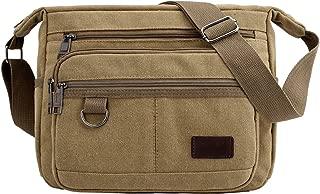 Retro Vintage Canvas Mens Crossbody Shoulder Messenger Bag with Pockets for Men and Women (Khaki)