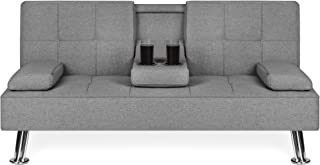Best Choice Products Linen Upholstered Modern Convertible Folding Futon Sofa Bed w/Metal Legs, 2 Cupholders, Gray