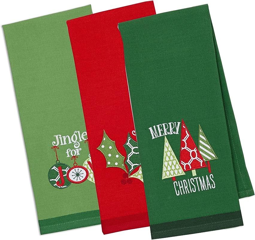 DII Christmas Dishtowel Decorative Oversized Set Of 3 Christmas